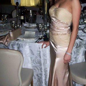 Alyce Design Aline strapless nude gown. SZ. 4